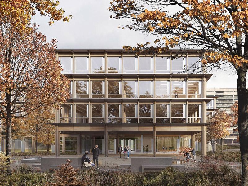 Siegerprojekt SA Isengrind SENSEI Blick auf die Fassade mit Haupteingang. Visualisierung: © nightnurse images ag, Zürich