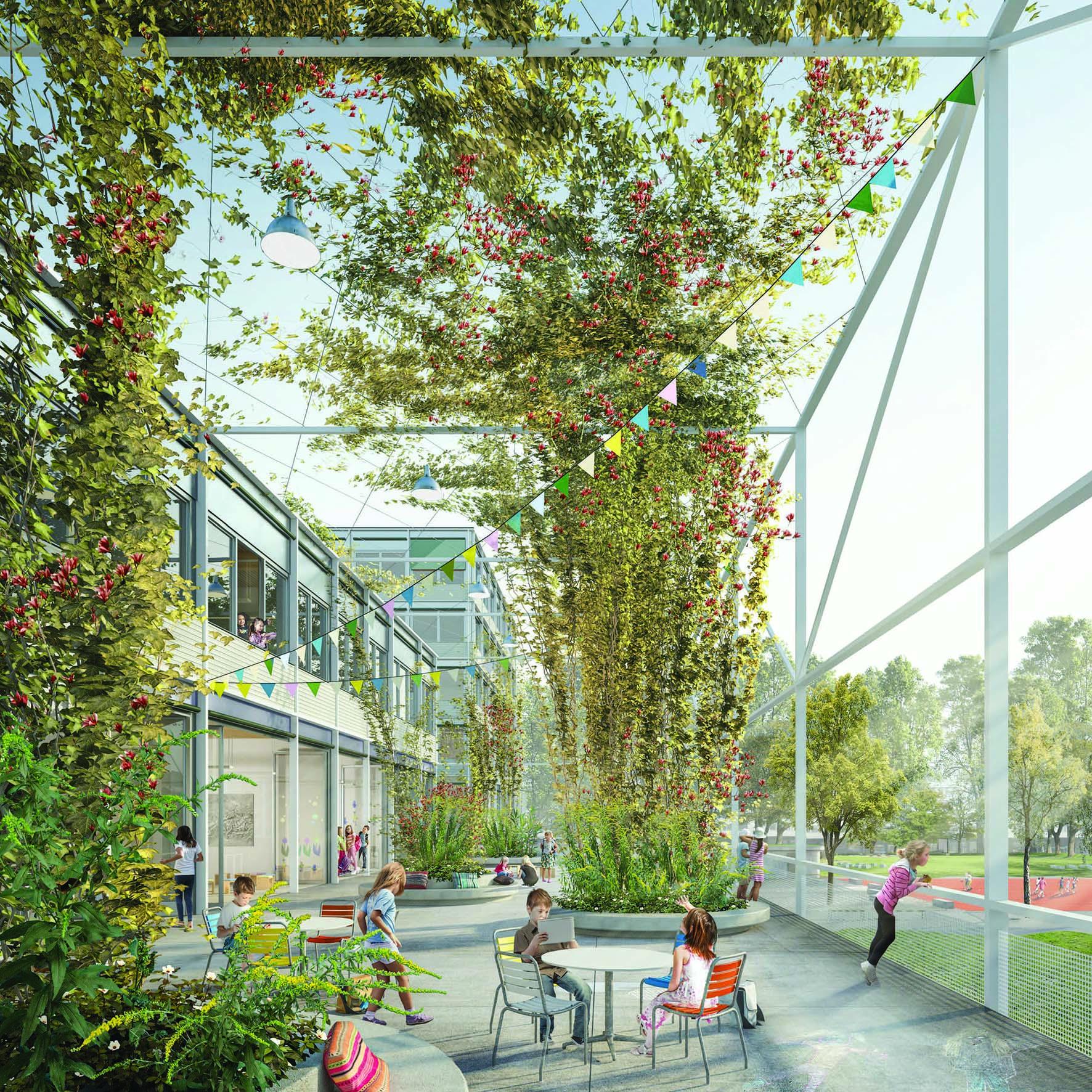 Visualisierung Schulanlage Saatlen Siegerprojekt SchereSteinPapier – Zugangsbereich Primarschule, © maaars architektur visualisierungen