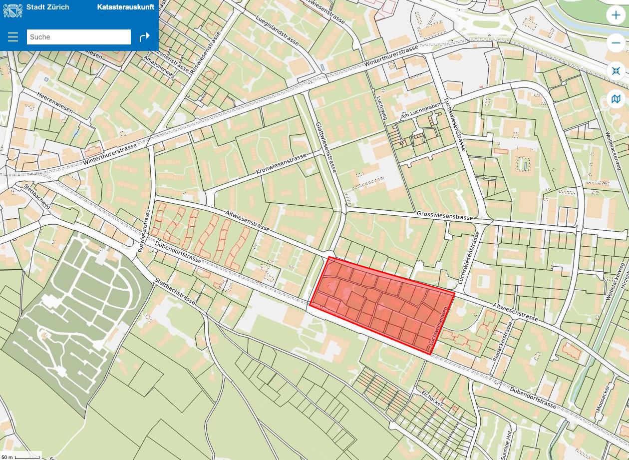 Karte Stadt Zürich Areal Altwiesen- / Dübendorferstrasse