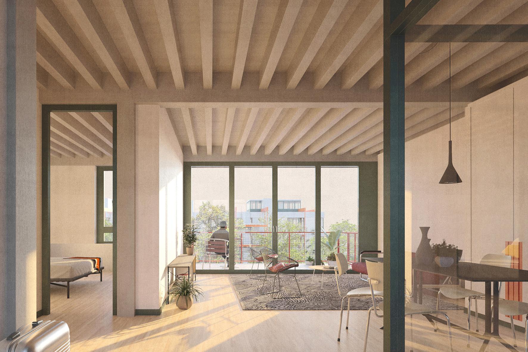 Visualisierung: Wohnsiedlung Neuwiesen Siegerprojekt KRANICH. Ansicht Geschosswohnung, © BS+EMI Architektenpartner AG