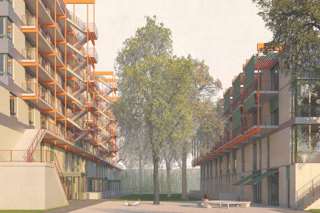 Visualisierung: Wohnsiedlung Neuwiesen Siegerprojekt KRANICH. Blick auf die Wohnsiedlung Neuwiesen von der Luegislandstrasse, © BS+EMI Architektenpartner AG